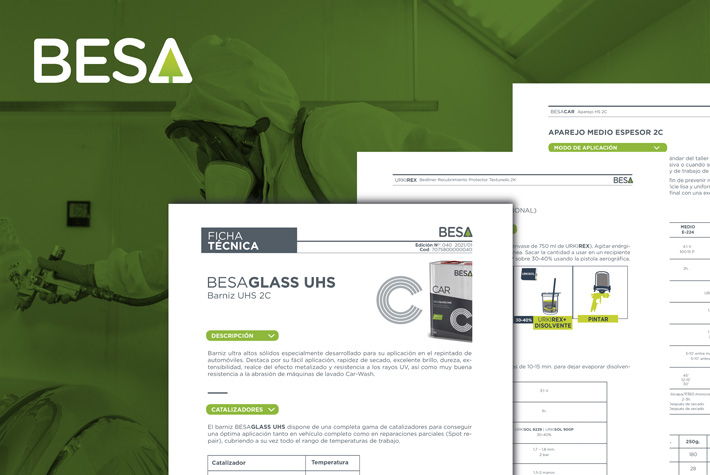 The new technical data sheets design covers the entire range of CAR line products, BESA's bodywork product range.